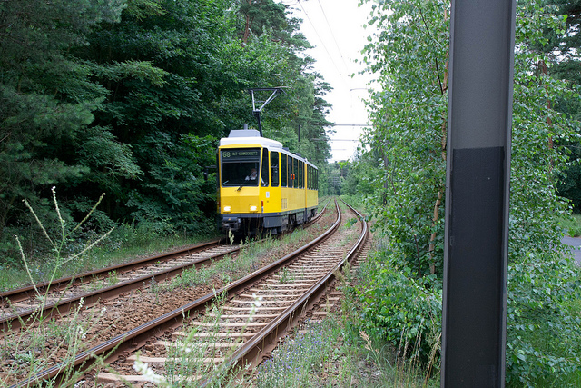 Even though most people use their trams in downtown Berlin, BVG also operates a few lines in rural areas, like here line 68 southeast of Kšpenick.
