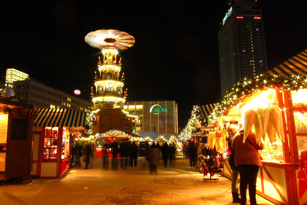 Christmas market in Alexanderplatz, featuring a large Christmas tower, called a Pyramide - Berlin 2010