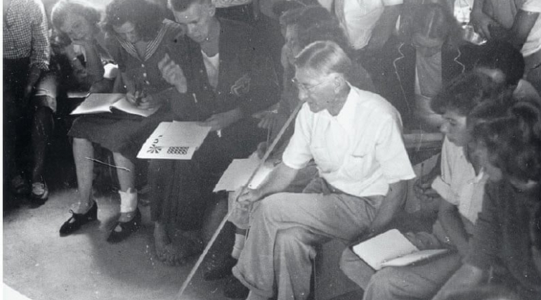 Josef Albers teaching at Black Mountain College, ca.1948. Photograph: Courtesy the Josef and Anni Albers Foundation