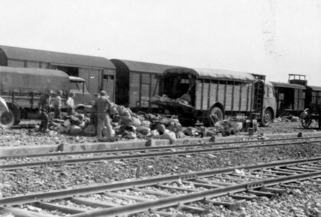 Treno ad Auschwitz - Pubblico Dominiohttps://it.wikipedia.org/wiki/Auschwitz_Album#/media/File:Birkenau_Loading_personal_possessions_on_trucks_standing_next_to_the_platform.jpg