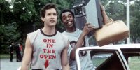 """Steve Guttenberg and Michael Winslow in """"Police Academy"""""""