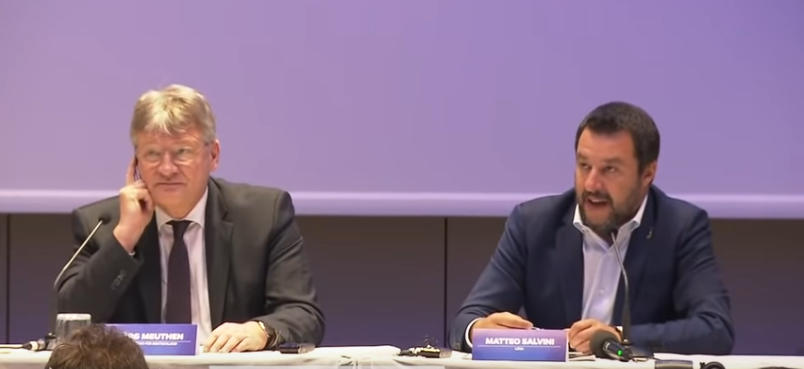 Salvini e Meuthen alla conferenza di Milano Screenshot da YouTube