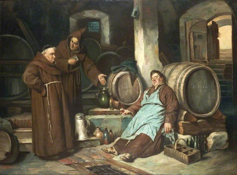 Joseph Hayer - Frati in cantina (1873) Pubblico dominio da Wikipedia https://commons.wikimedia.org/wiki/File:Joseph_Haier_-_Monks_in_a_cellar_1873.jpg