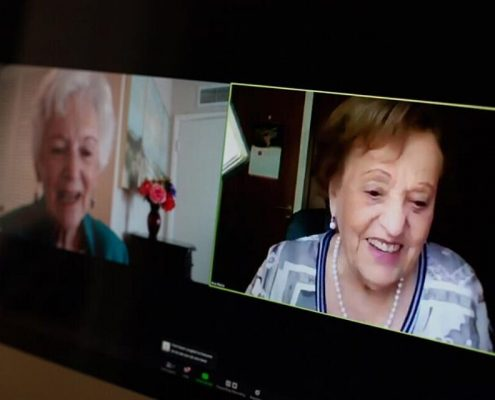 Betty Grebenshikoff and Ana María Wahrenberg speak on Zoom | Courtesy: USC Shoah Foundation