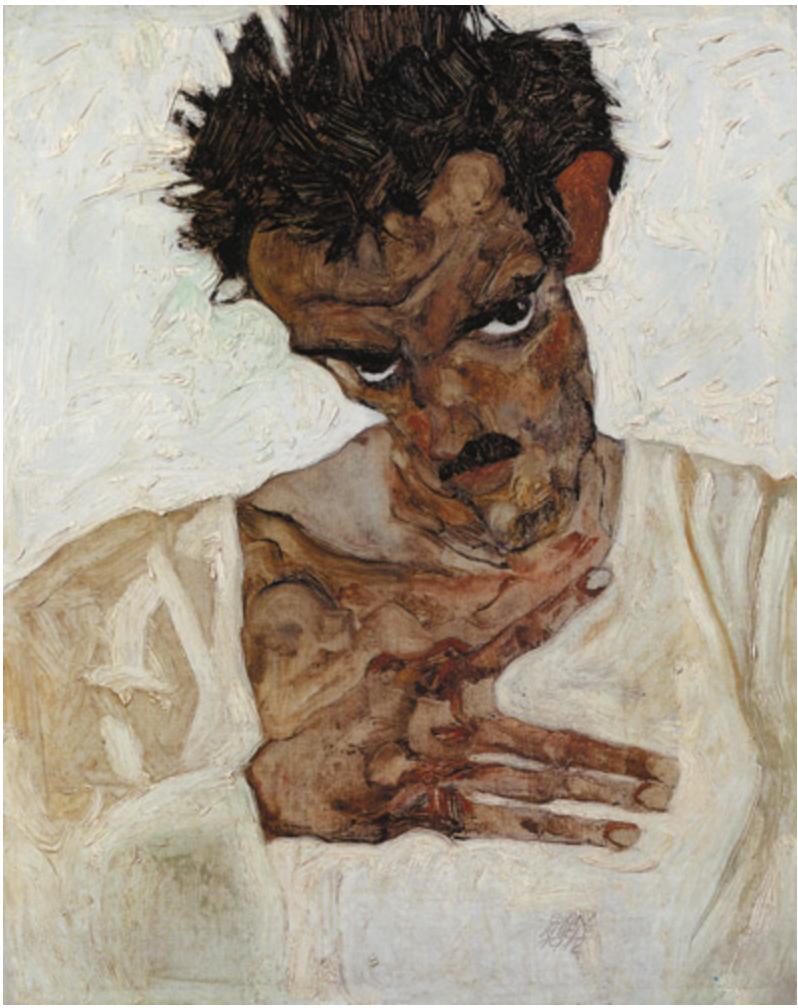 Egon Schiele - Autoritratto con testa inclinata (1912) - Leopold Museum Vienna
